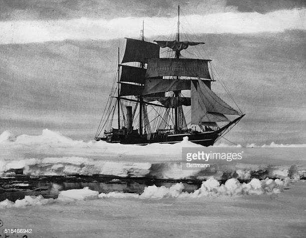 The 'Terra Nova' Robert Falcon Scott's expedition ship to the Southpole shown in an ice pack Undated photograph circa 1912