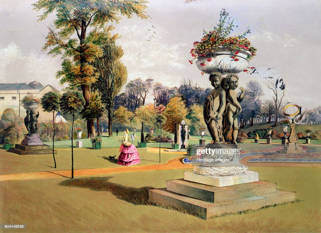 The Terrace Garden, Woburn Abbey, Bedfordshire, Mid 19th Century. Woburn  Abbey Has