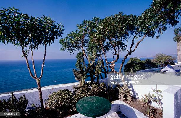 The terrace of the Haffa cafe in Tangier Morocco The Haffa cafe was one of the cafes frequented by the intellectuals who lived in Tanger It was...