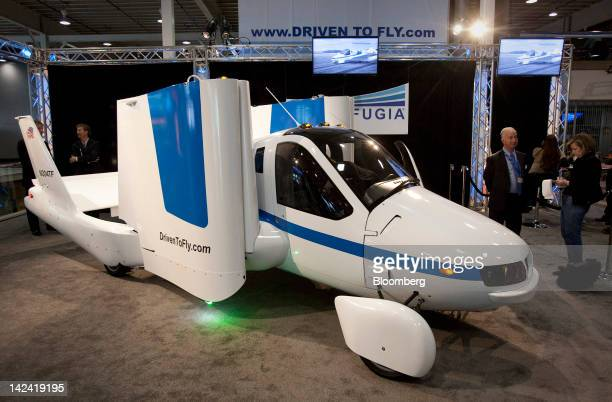 The Terrafugia Transition 'flying car' sits on display at the New York International Auto Show in New York US on Wednesday April 4 2012 The...