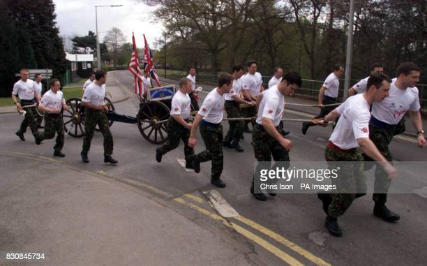 The Territorial Army's Honourable Artillery Company start their double UK/USA marathon attempt at Pirbright Camp in Surrey The team will run their...