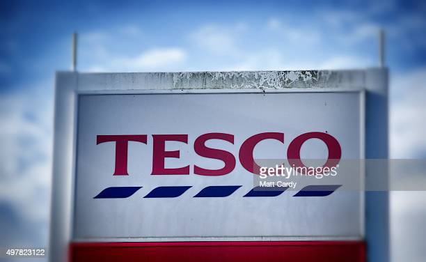 The Tesco sign is displayed outside a branch of the supermarket on November 18 2015 in Bristol England As the crucial Christmas retail period...