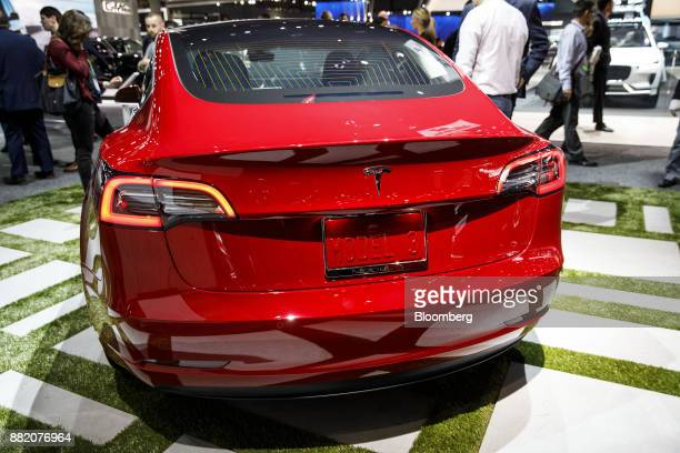 The Tesla Inc Model 3 vehicle is displayed during AutoMobility LA ahead of the Los Angeles Auto Show in Los Angeles California US on Wednesday Nov 29...