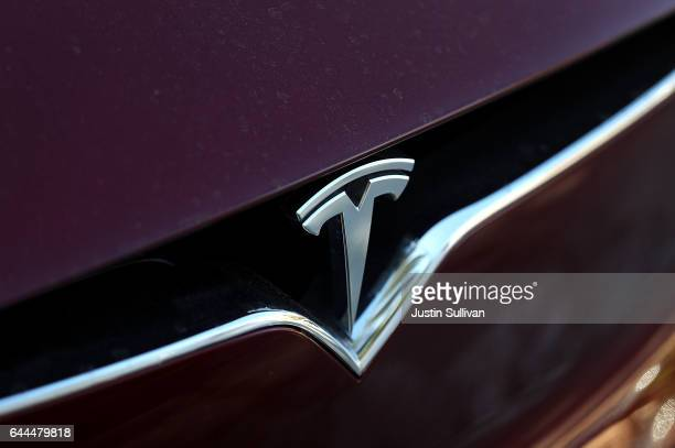 The Tesla is displayed on the front of a Tesla Model X on February 23 2017 in Los Angeles California Tesla shares dropped over 5 percent on Thursday...