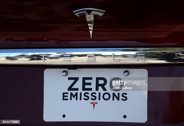 The Tesla is displayed on the rear of a Tesla Model X on February 23 2017 in Los Angeles California Tesla shares dropped over 5 percent on Thursday...