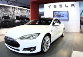 The Tesla Model S Signature is shown during a media preview day at the 2012 North American International Auto Show January 10 2012 in Detroit...