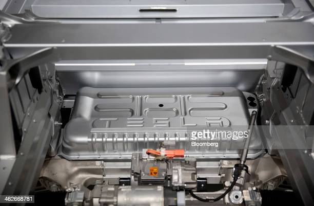The Tesla Motors Inc logo is seen on the engine of a Model S sedan at the company's booth during the 2014 North American International Auto Show in...