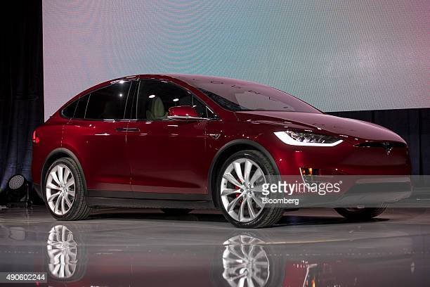 The Tesla Motors Inc Model X sport utility vehicle stands on display during an event in Fremont California US on Tuesday Sept 29 2015 Elon Musk...