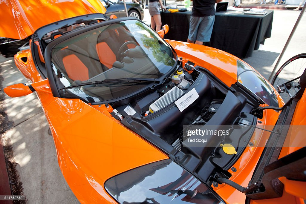 The Tesla Roadster electric sports car The US built car has a top speed of 125mph base priced at $109000 USD and has a approx range of 244 miles...