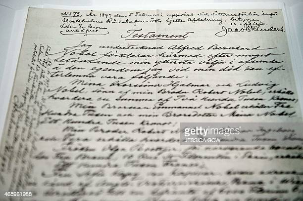 The testament of Swedish scientist Alfred Nobel is displayed during a press meeting on March 12 2015 prior to the opening of the exhibition 'Legacy'...