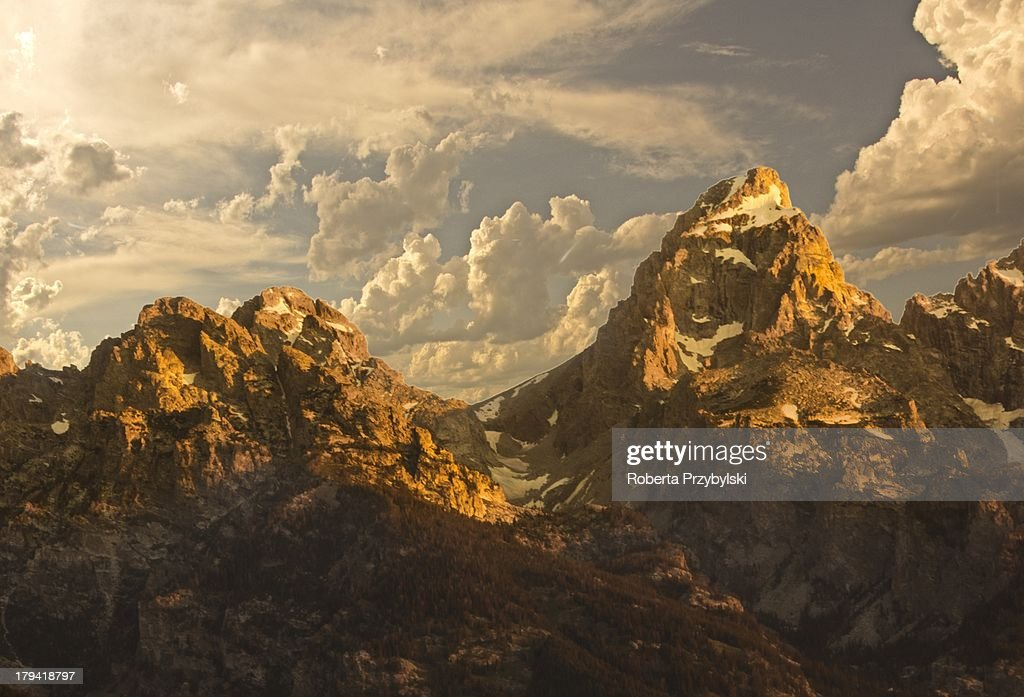 The Tetons meet the clouds