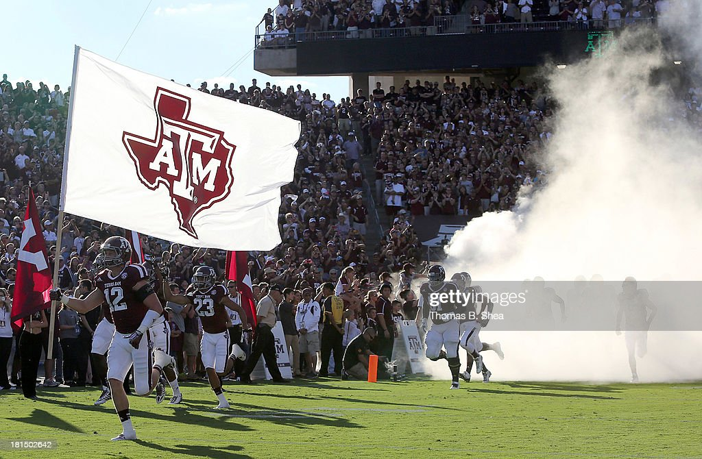 The Texas A&M Aggies take the field against Southern Methodist Mustangs in the second half on September 21, 2013 at Kyle Field in College Station, Texas.