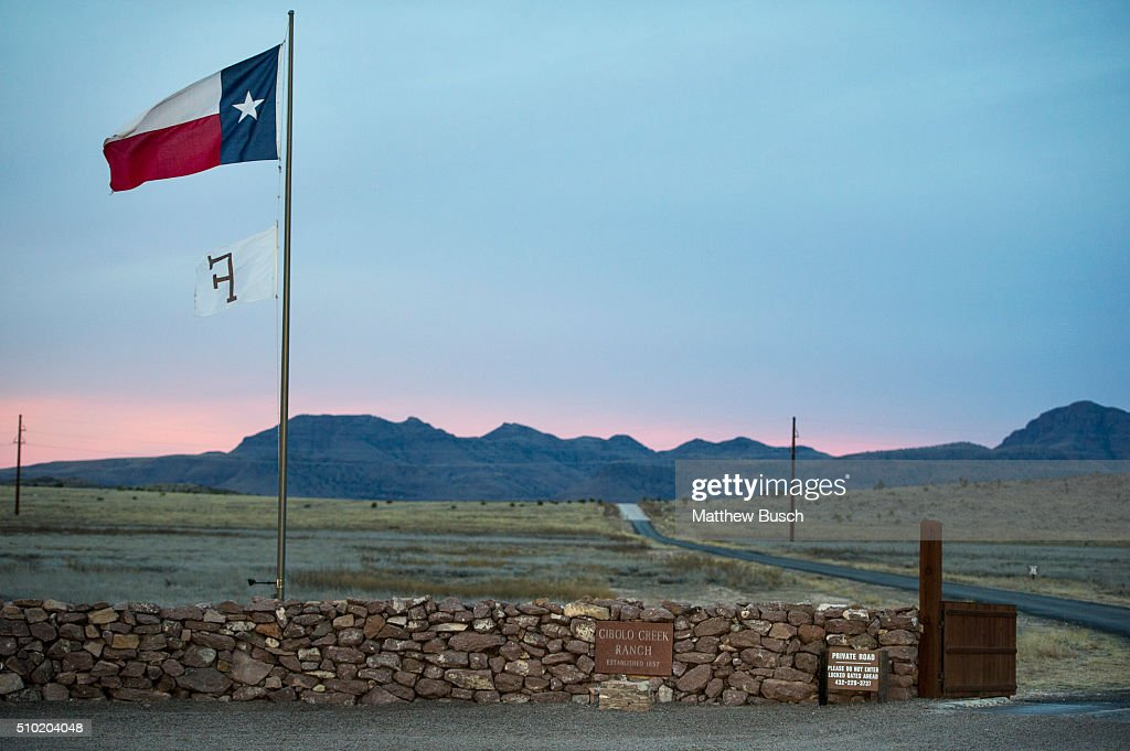 The Texas flag flies at the entrance to the Cibolo Creek Ranch early Sunday, the day after the death of Supreme Court Justice Antonin Scalia, February 14 , 2016 in Shafter, Texas. Justice Scalia was 79.