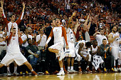 The Texas Longhorns bench reacts as they defeat the Vanderbilt Commodores at the Frank Erwin Center on January 30 2016 in Austin Texas