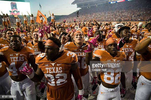 The Texas Longhorns celebrate after defeating the Baylor Bears on October 29 2016 at Darrell K RoyalTexas Memorial Stadium in Austin Texas
