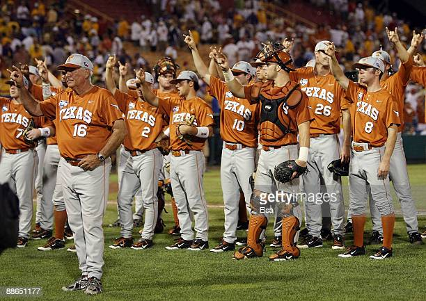 The Texas Longhorns celebrate the win with fans after they defeated the Louisiana State University Tigers in Game 2 of the 2009 NCAA College World...