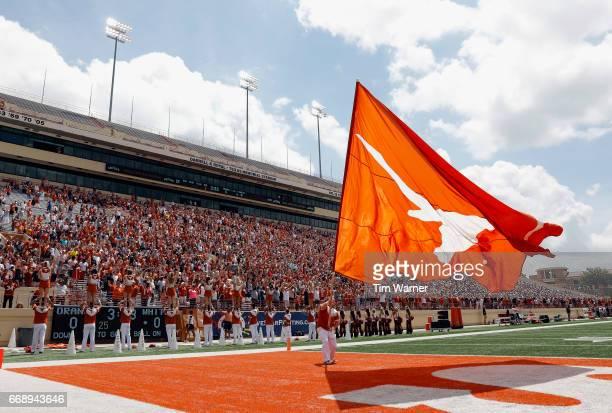 The Texas Longhorns cheerleaders perform during the OrangeWhite Spring Game at Darrell K RoyalTexas Memorial Stadium on April 15 2017 in Austin Texas