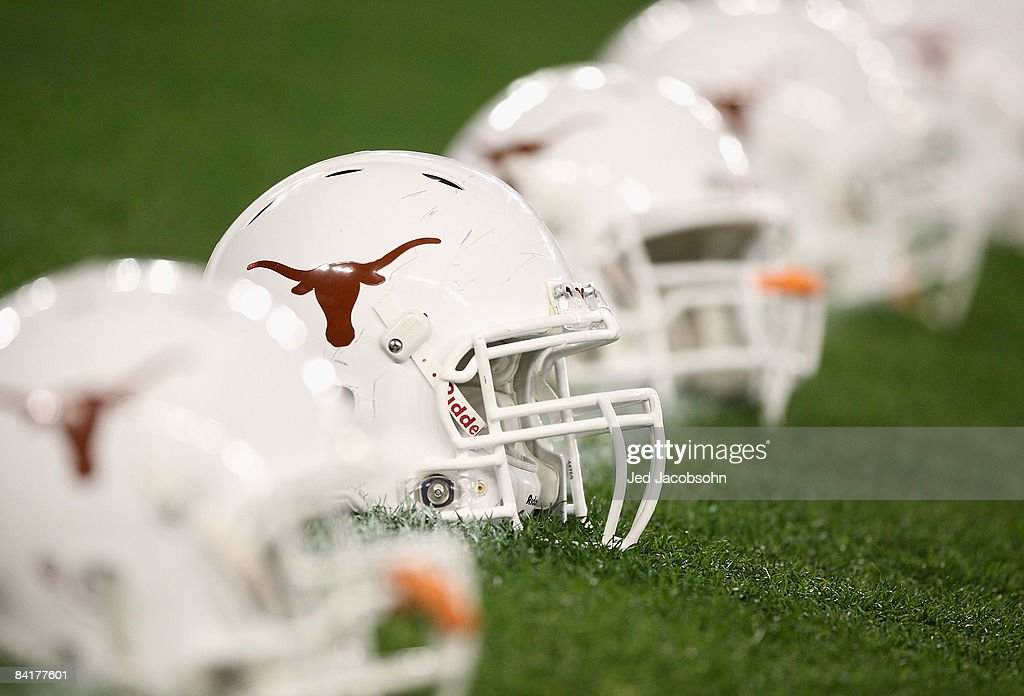 The Texas Longhorns helmets are arranged on the field before the Tostitos Fiesta Bowl Game against the Ohio State Buckeyes on January 5 2009 at...
