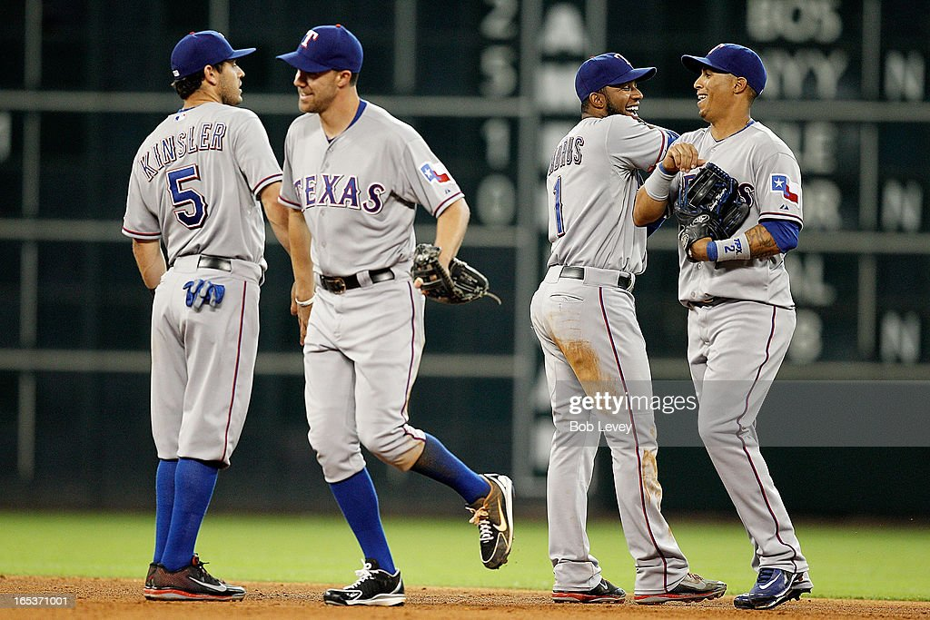 The Texas Rangers celebrate their 4-0 win over the Houston Astros at Minute Maid Park on April 3, 2013 in Houston, Texas.