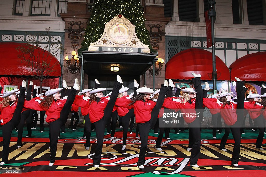 The Texas State University Strutters of San Marcos, Texas perform at Day One of the 86th Anniversary Macy's Thanksgiving Day Parade Rehearsals at Macy's Herald Square on November 19, 2012 in New York City. (Photo by Taylor Hill/Getty Images)2
