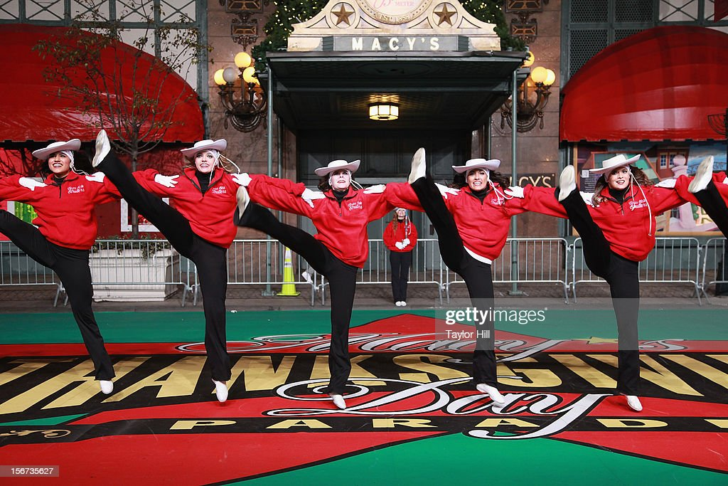 The Texas State University Strutters of San Marcos, Texas perform at Day One of the 86th Anniversary Macy's Thanksgiving Day Parade Rehearsals at Macy's Herald Square on November 19, 2012 in New York City.