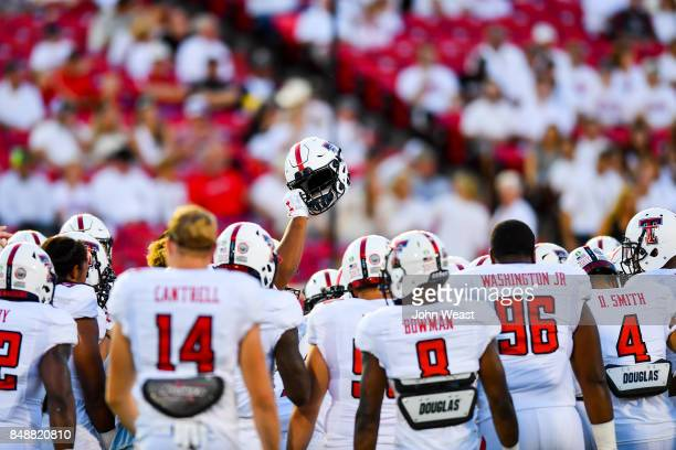 The Texas Tech Red Raiders getting ready to play before the game between the Texas Tech Red Raiders and the Arizona State Sun Devils on September 16...