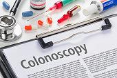 The text Colonoscopy written on a clipboard