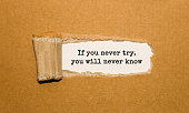 The text If you never try you will never know appearing behind torn brown paper