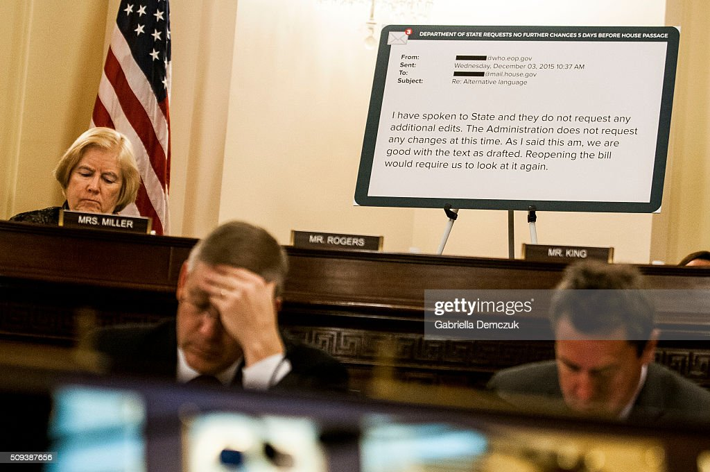 The text of an email from the Department of State requesting no further changes to the House passage of the Visa Waiver Program Improvement and Terrorist Travel Prevention Act is displayed during the House Homeland Security Committee hearing on 'National Security and Law Enforcement: Breaking the New Visa Waiver Law to Appease Iran' on Capitol Hill on February 10, 2016 in Washington, D.C. Questions have been raised over the misuse of visa waivers, exempting some individuals from the Visa Waiver Program Improvement and Terrorist Travel Prevention Act that was passed into law last year.