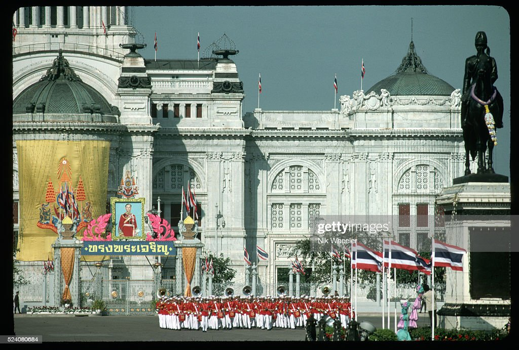 The Thai Royal Guard performs at the birthday celebration for the King of Thailand. The stand in front of the Parliament Building in Bangkok.