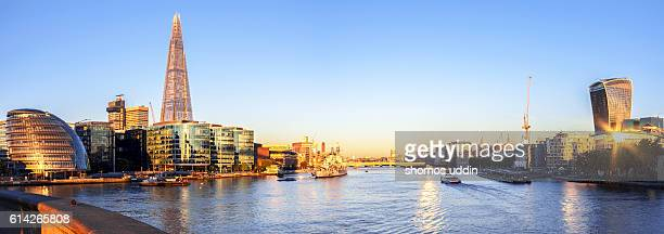 The Thames and the city skyline at sunrise