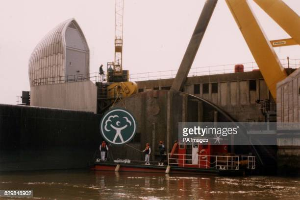 The Thames Barrier is rebranded to mark the formation of the Environment Agency The logo of the new Environment Agency is carried out by boat to the...