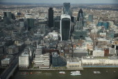 The Thames River flows past the city center in this aerial view taken from The Shard on March 21 2014 in London United Kingdom The Shard is the...