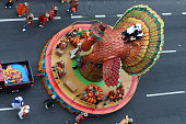 The Thanksgiving Turkey float is seen during the 88th Annual Macy's Thanksgiving Day Parade outside Macy's Department Store in Herald Square on...