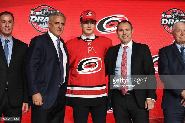 The The Carolina Hurricanes select center Martin Necas with the 12th pick in the first round of the 2017 NHL Draft on June 23 at the United Center in...