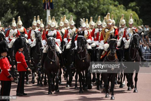The the household cavalry during a State visit by the King and Queen of Spain at Centre Gate Buckingham Palace on July 12 2017 in London England This...