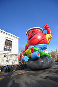 The The KoolAid Man balloon floats through the parade route during the 89th Annual Macy's Thanksgiving Day Parade on November 26 2015 in New York...