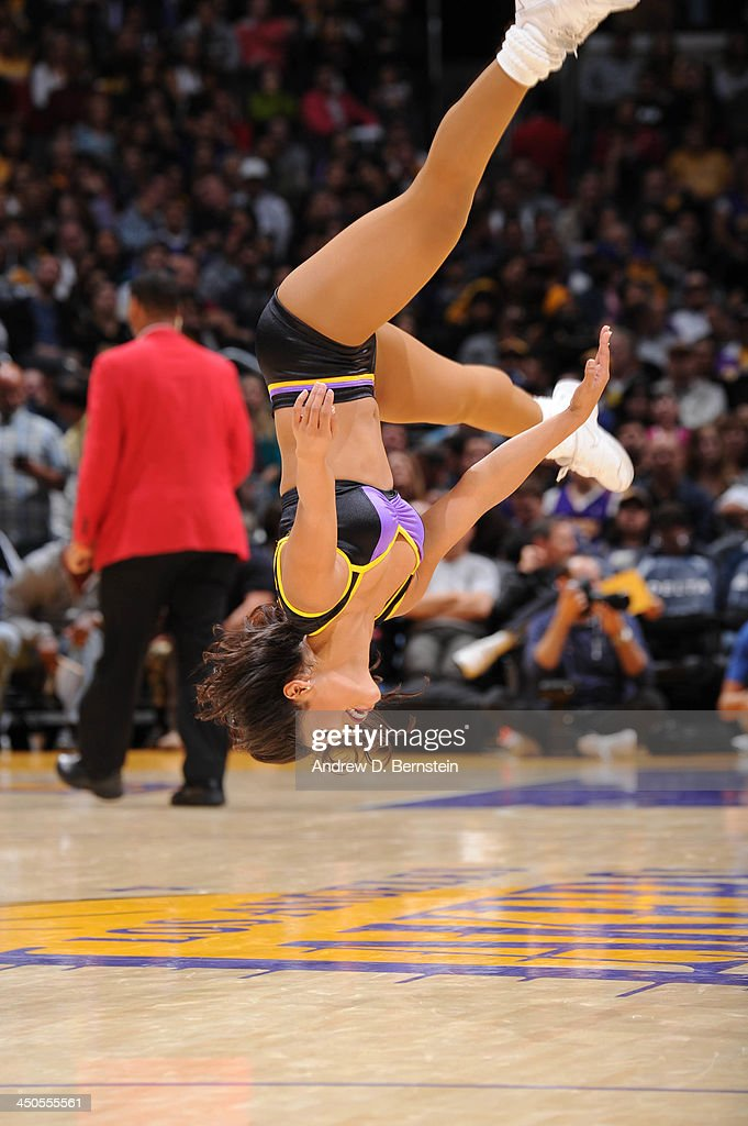 The the Los Angeles Laker Girls perform during a game against the Detroit Pistons at Staples Center on November 17, 2013 in Los Angeles, California.