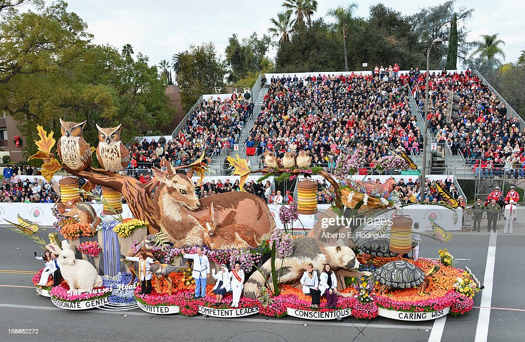 The The Nurses' Float participates in the 124th Tournamernt of Roses Parade on January 1, 2013 in Pasadena, California.