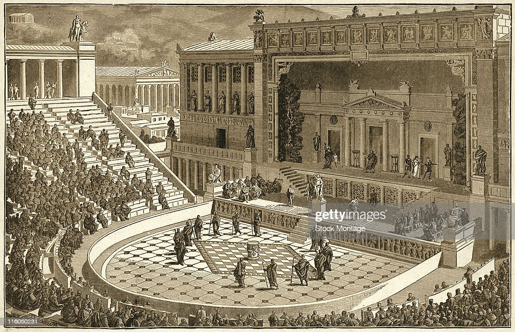 The Theater of Dionysus is shown as it may have looked during a performance in ancient Athens Greece 1800s