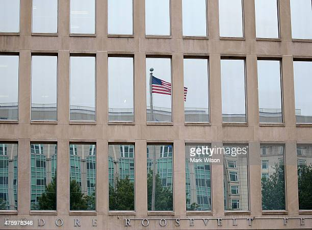 The Theodore Roosevelt Federal Building that houses the Office of Personnel Management headquarters is shown June 5 2015 in Washington DC US...