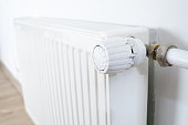 The thermostat on the radiator, close-up