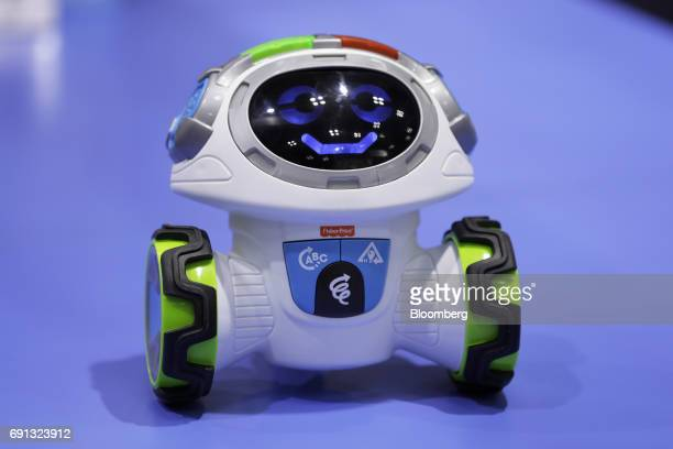 The Think Learn Teach 'n Tag Movi interactive learning robot from FisherPrice Inc a subsidiary of Mattel Inc stands on display at the International...