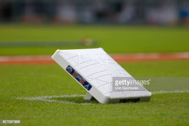 The third base prior to the MLB game between the Atlanta Braves and the Miami Marlins on August 6 2017 at SunTrust Park in Atlanta GA The Marlins...