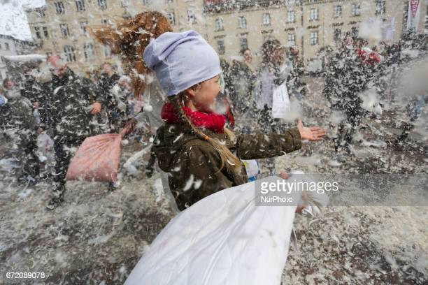 The third charity international pillow fight in Krakow Poland on 23 April 2017 This year's goal is to collect funds and gifts for pets in the charge...
