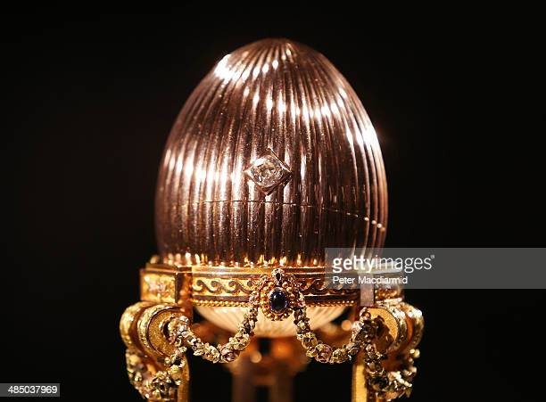 The Third Faberge Imperial Easter Egg is displayed at Court Jewellers Wartski on April 16 2014 in London England This rare Imperial Faberge Easter...