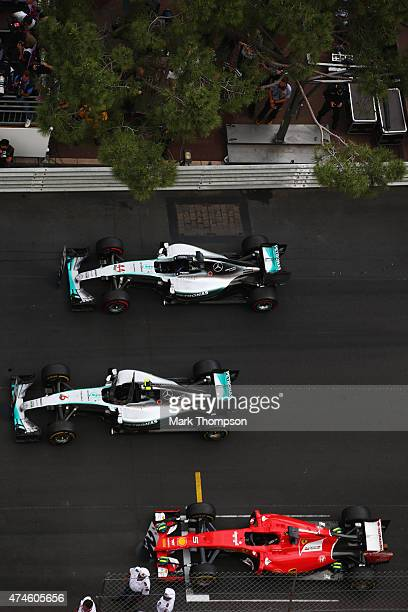 The third placed car of Lewis Hamilton of Great Britain and Mercedes GP first placed car of Nico Rosberg of Germany and Mercedes GP and third placed...