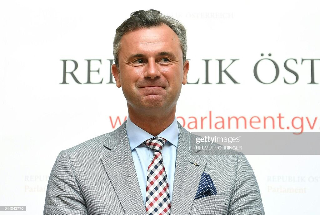 The third President of the National Council Norbert Hofer attends a press conference on the annulation of the last presidential election on July 1, 2016, in Vienna. Austria's highest court on July 1 annulled May's presidential election result following a legal challenge from the far-right Freedom Party (FPOe), whose candidate lost by a narrow margin, citing irregularities. / AFP / APA / HELMUT FOHRINGER / Austria OUT