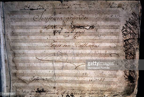 The third symphony music sheet first page written by classical music German composer Ludwig Van Beethoven 1970s