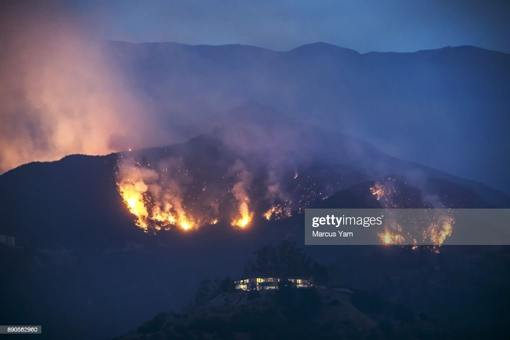 MONTECITO, CALIF. -- MONDAY, DECEMBER 11, 2017: The Thomas Fire make its way down the ridges threatening homes in the mountains in Montecito, Calif., on Dec. 11, 2017.